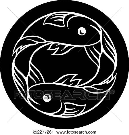 Clipart Of Pisces Fish Zodiac Astrology Sign K52277261 Search Clip