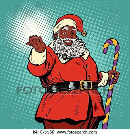 African American black Santa Claus Clip Art | k41075568 ...