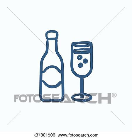 Bouteille Champagne Et Deux Lunettes Croquis Icon Clipart K37801506 Fotosearch