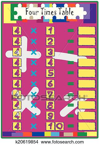 Four Times Table Clipart K20619854 Fotosearch