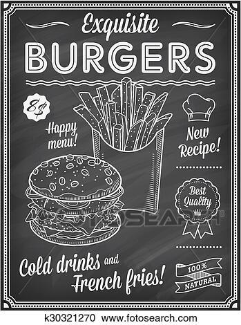 clipart of grunge chalkboard fast food menu template k30321270