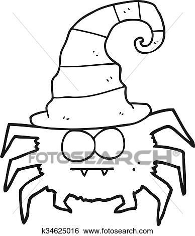 Clip Art - negro y blanco, caricatura, halloween, araña k34625016 ...
