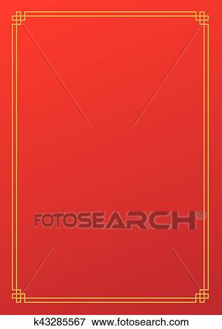 clip art red chinese new year empty background with golden border fotosearch search