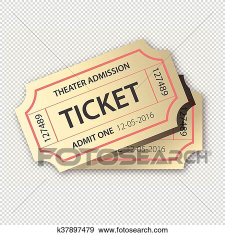 Clip Art Of Two Cinema Tickets Pair Isolated On Transparent
