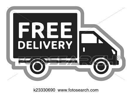 clipart of free delivery truck free shipping k23330690 search rh fotosearch com Free Delivery Free Shipping Shipping Truck Clip Art