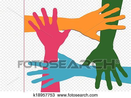 Fundo Coloridos Silueta Maos Desenho Clipart K18957753