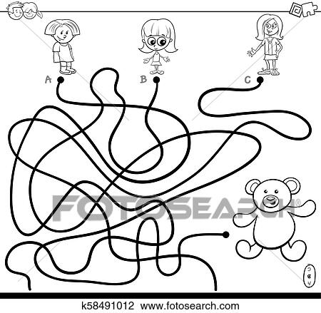 Girls and teddy maze game color book Clipart