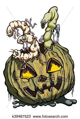 Data Di Halloween.Halloween 31 Data Consist Di Marcio Zucca E Vermi Disegno