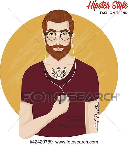 Clip Art of Hipster Style Template k42420789 - Search Clipart ...