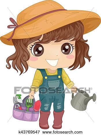 Kid Girl Garden Tool Set Clip Art K43769547 Fotosearch