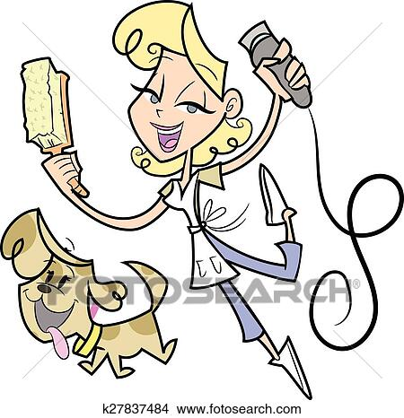 Lady Grooming a Puppy Dog Clipart | k27837484 | Fotosearch