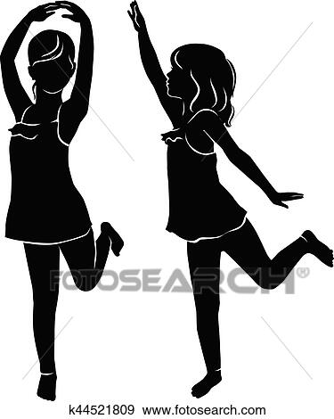 Silhouette Beau Petite Fille Danse Clipart