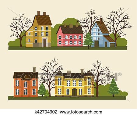 Suburban Residential Street In Flat Design Clipart