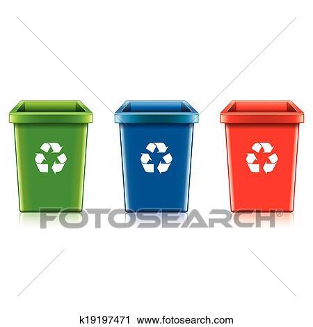 プラスチック リサイクルボックス セット ベクトル イラスト