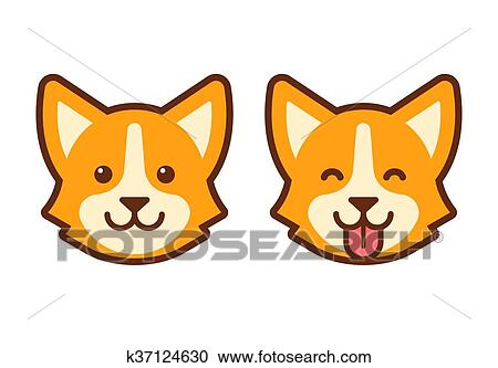 clipart of corgi dog face icon k37124630 search clip art rh fotosearch com dog clipart face dog face clip art black and white