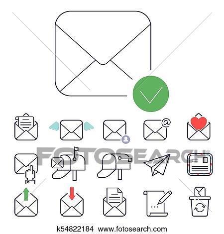 E Mail Brief Vektor Heiligenbilder Satz Briefkuvert Decke