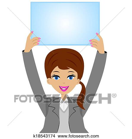 Femme, à, a, propre, table, dans, mains Clipart | k18543174 | Fotosearch