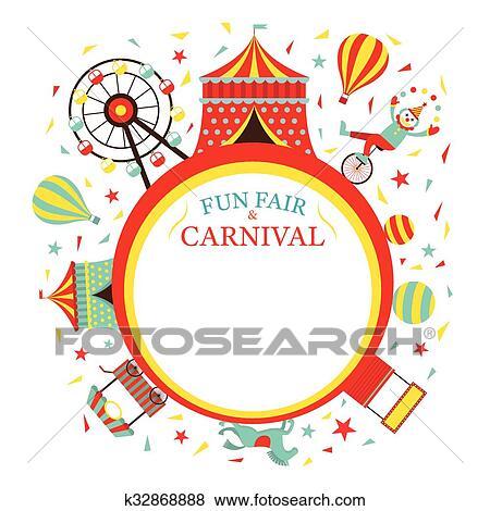 Clip Art of Fun Fair, Carnival, Circus, Round Frame k32868888 ...