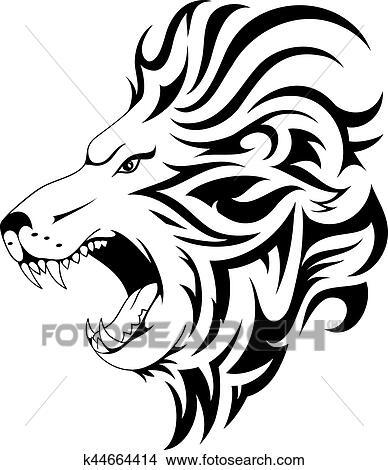 clipart leão tribal tatuagem desenho k44664414 busca de