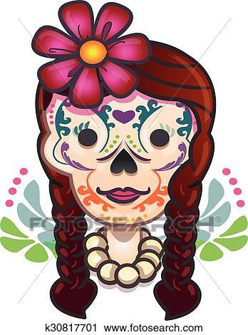 Mexicano Tradicional Catrina Caricatura Clipart K30817701