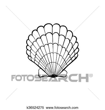 Clipart Of Sea Shell Icon K36524275