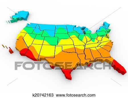 Stock Photo of United States America Map Average Temperatures ...
