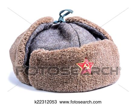 Stock Photo - Ushanka fur hat of the Soviet army. Fotosearch - Search Stock  Images 1d7b8cabffc6