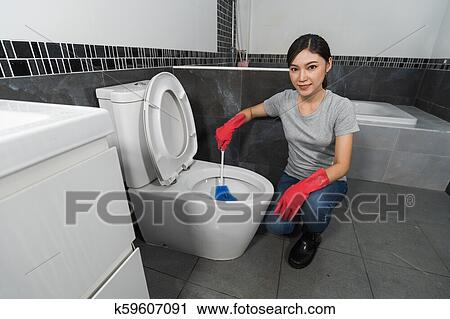 Wondrous Woman Cleaning Toilet Bowl With Brush Stock Image Pabps2019 Chair Design Images Pabps2019Com