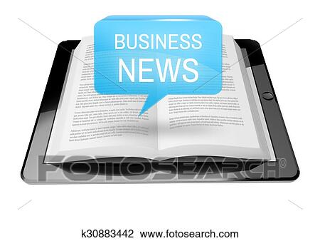Business News Icon Button Above Ebook Reader Stock Image