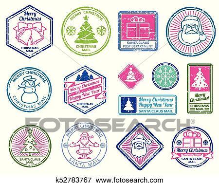 Christmas Stamps.Christmas Santa Postage Letter Stamps Winter Holydays Decoration Vector Set Clip Art