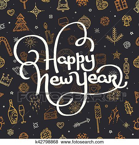 clip art happy new year lettering on black background fotosearch search clipart