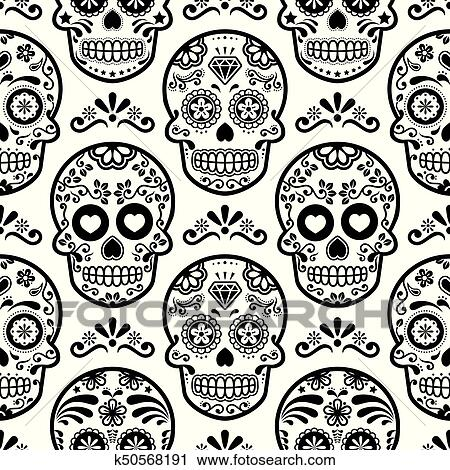 Clipart - Mexican sugar skull vector seamless pattern, Halloween candy skulls background, Day of