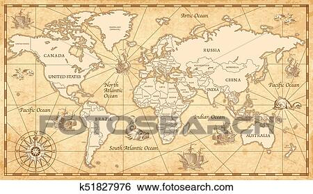 The Picture Of The World Map.Old Vintage World Map Clip Art