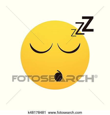yellow smiling cartoon face sleeping people emotion icon clipart k48178481 fotosearch fotosearch