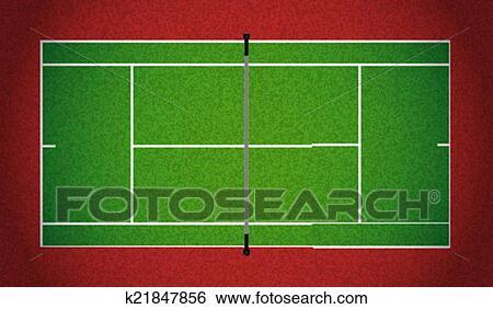 現実的 Textured テニスコート イラスト クリップアート K21847856