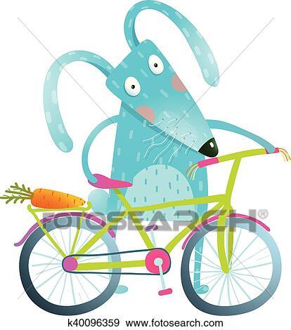 Cartone Animato Blu Coniglietto Con Bicicletta Clip Art
