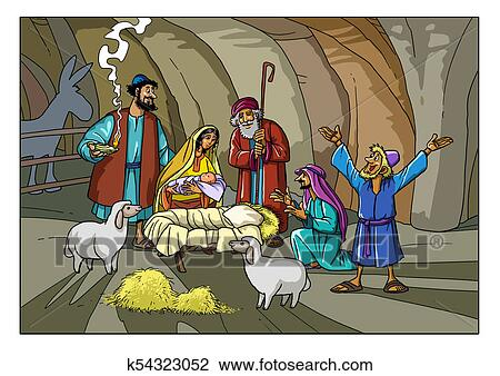 Christmas Stable Drawing.Christmas Story Shepherds With Joseph Mary And Baby Jesus Drawing
