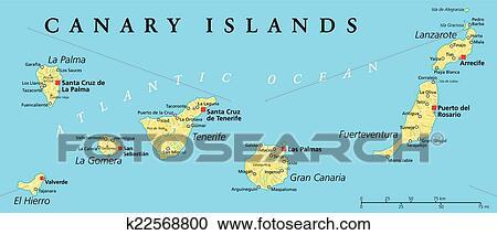 Spanien Lanzarote Karta.Kanarieoarna Politisk Karta Clipart K22568800 Fotosearch