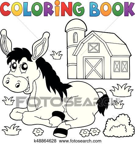 Clip Art - libro colorear, burro, y, granja k48864628 - Buscar Clip ...