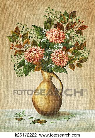 Clip Art Of Painting Flowers Dahlias In A Vase K26172222 Search