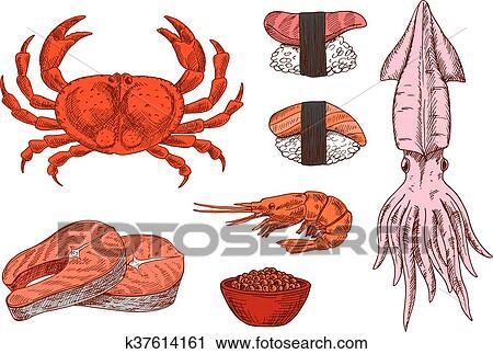 Clipart - pez fresco, crustáceos, caviar, y, sushi, dibujos ...