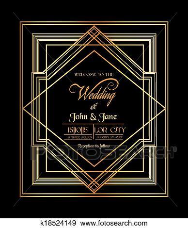 clip art of wedding invitation card art deco gatsby style save