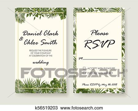 Wedding Invitation Rsvp Modern Card Design Vector Natural
