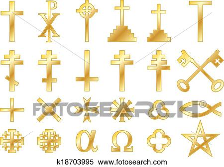 Clipart Of Golden Christian Religious Symbols K18703995 Search
