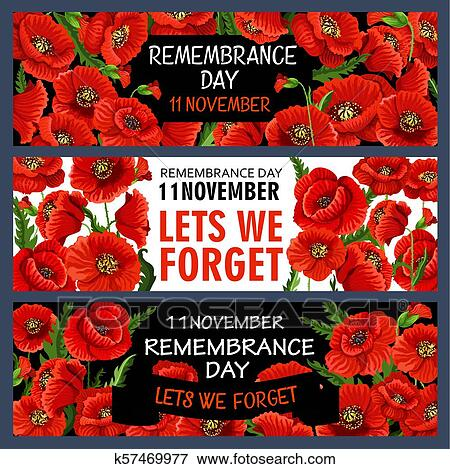 Vector 11 November Remembrance Day Poppy Banners Clip Art