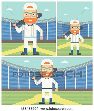 Baseball player with bat vector illustration. Clipart ...