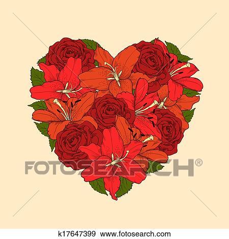 Beau Coeur Decore Par Fleurs Roses Et Lilies Symbole De A
