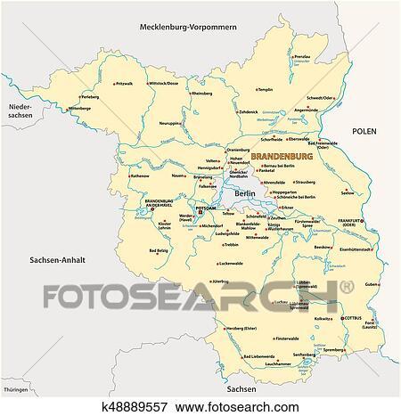 Map of the state of Brandenburg in German language Clip Art ...