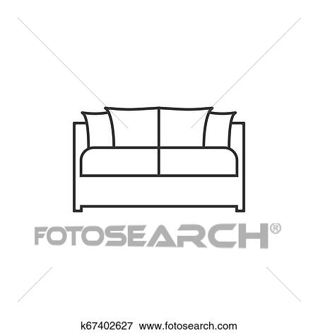 Sofa Icon Vector Illustration Flat Design Vector Clip Art