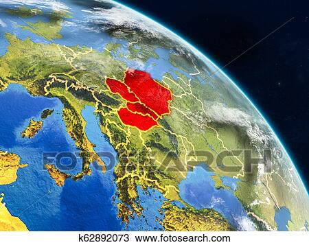 Visegrad Group From Space Drawing K62892073 Fotosearch